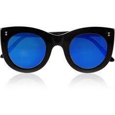 Illesteva Boca cat-eye acetate mirrored sunglasses ($220) ❤ liked on Polyvore featuring accessories, eyewear, sunglasses, glasses, sunnies, mirror lens sunglasses, cateye sunglasses, acetate sunglasses, illesteva glasses and acetate glasses