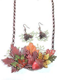 Woodsy Bib necklace Squirrel jewelry leaf necklace jewelry