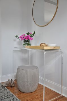 10 Furniture + Decor Items in Our House That Are Currently On Sale - Safavieh acrylic console table in the entryway Acrylic Furniture, Wood Bedroom Furniture, Furniture Decor, Indian Furniture, Entryway Decor, Office Decor, Foyer, Console Table Styling, Console Tables