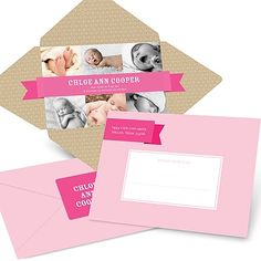 Photo Baby Announcements -- Simply Sweet Self Mailer in Pink | Pear Tree Greetings