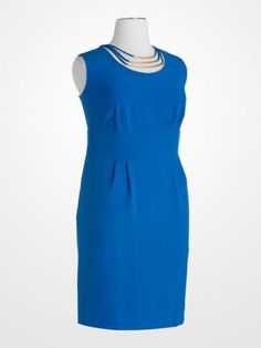 Royal Blue Sheath Dress with Attached Necklace