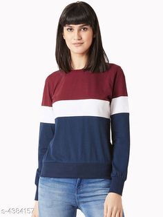 Sweatshirts Pretty  Women's T-shirts Fabric: Cotton Sleeve Length: Long Sleeves Pattern: Striped Multipack: 1 Sizes: S (Bust Size: 36 in Length Size: 28 in)  XL (Bust Size: 42 in Length Size: 28 in)  L (Bust Size: 40 in Length Size: 28 in)  M (Bust Size: 38 in Length Size: 28 in) Country of Origin: India Sizes Available: S, M, L, XL   Catalog Rating: ★4 (388)  Catalog Name: Aagam Petite Women Tshirts CatalogID_630143 C79-SC1028 Code: 903-4384157-927