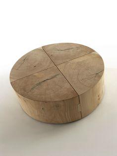 Low modular solid wood coffee table ECOBLOCK by Riva 1920 design Maurizio Riva, Davide Riva