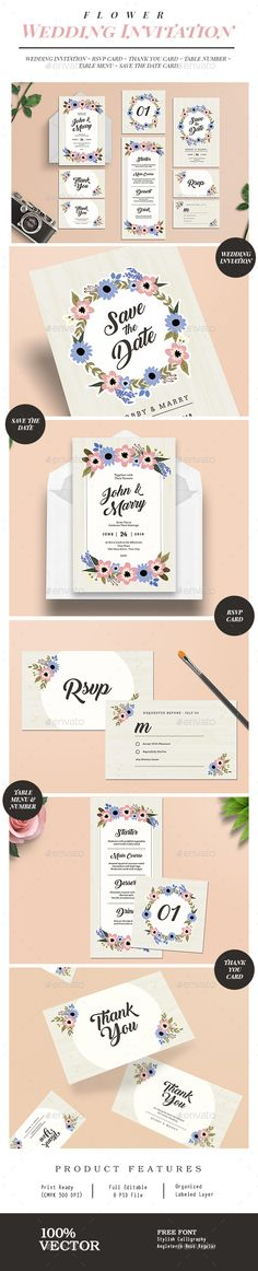 1057 best wedding invitation template design images on pinterest flower wedding invitation suite photoshop psd couple classic download https stopboris Image collections
