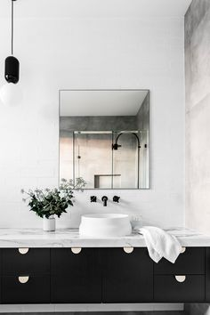 Bathroom detail from contemporary new build Brisbane by Sutcom Constructions. Photography: Maree Homer | Styling: Kate Nixon | Story: Australian House & Garden