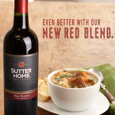 The new Sutter Home Red Blend pairs well with hearty stews and soups, like this delicious Beef Barley.