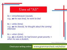 Uses of As