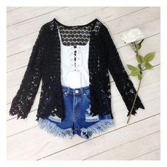 Honey Pie black crochet cardigan, Hayley Scanlan white lace up bodysuit, and our distressed denim cut offs. Shop @ Little-lies.com