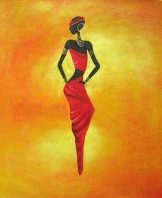 Modern Art Paintings | Black Lady Three, Modern art oil painting.