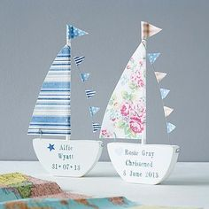 Personalised Sailing Boat Keepsake - personalised new baby gifts Baby Christening Gifts, Baptism Gifts, Gifts For Teens, Diy For Teens, Handmade Baby, Handmade Gifts, Personalised Bunting, Personalised Gifts, Boating Gifts