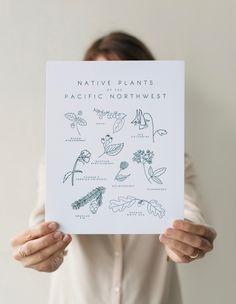 Letterpress Native Plants of the Pacific Northwest #art #etsy #botanical