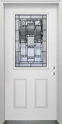 """Mastercraft® VE-106 Venice 36"""" x 80"""" Steel Half Lite Prehung Exterior Door - Left Inswing."""