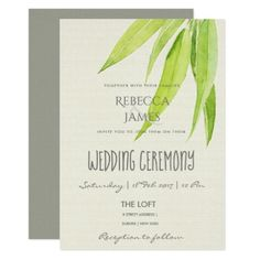 ELEGANT EUCALYPTUS WATERCOLOR FOLIAGE WEDDING CARD - wedding invitations diy cyo special idea personalize card