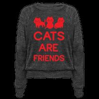"""Tired of fake ass friends? Get a cat! Show you are a proud befriender of cats with this cute cat tee featuring an illustration of 3 cats and the phrase """"Cats are Friends."""" 