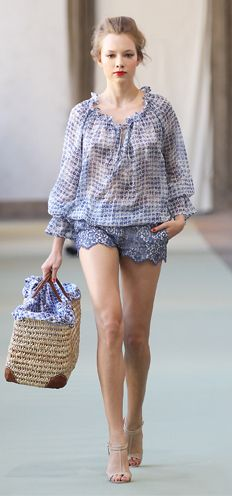 Blue/white delicate rose printed blouse Straw bag with leather details and floral inside Beige leather and gold sandals Blue lace shorts - luisabeccaria collection - Spring-summer 2012