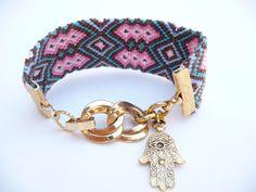 Tribal Stripes Friendship Bracelet with Vintage Gold Chain Links and Hamsa Charm - by Ana Osgood Jewelry