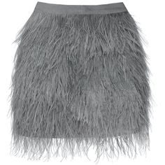 Wattle Feather Skirt (1,260 PEN) ❤ liked on Polyvore featuring skirts, mini skirts, grey, gray skirt, grey skirt, high-waisted skirt and grey feather skirt