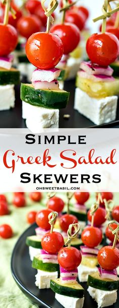 Cherry tomatoes, cucumber, and red onion are tossed in a homemade Greek vinaigrette and layered on mini skewers with a little square of feta cheese. These Greek Salad Skewers are a great snack and can be thrown together in under 30 minutes. Tomato Appetizers, Greek Appetizers, Skewer Appetizers, Skewer Recipes, Cold Appetizers, Appetizers For Party, Appetizer Recipes, Simple Appetizers, Birthday Appetizers