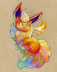 Art coloré de Flareon imprimer 8 x 10 pouces signés par ArtbyReid