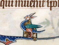 rabbit dragon  Gorleston Psalter, England 14th century. British Library, Add 49622, fol. 165v