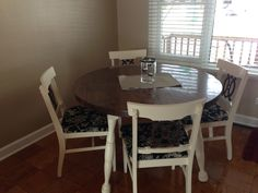 Table I refinished and covered chairs to match hutch that I shabbied.