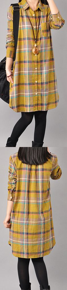 fashion yellow cotton knee dress Loose fitting traveling