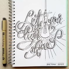 Let your light shine. #light #shine #shineallday #andthenextday #andthenext #handlettering #annemares www.annemares.nl