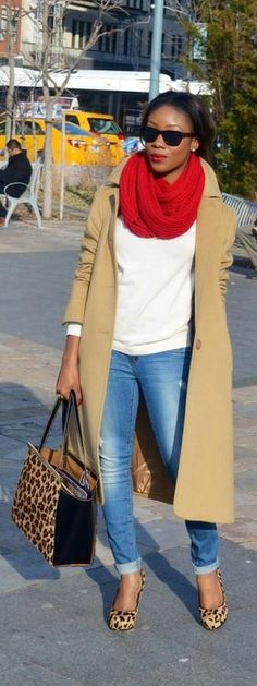 camel coat / white T / red scarf / distressed rolled denim / leopard