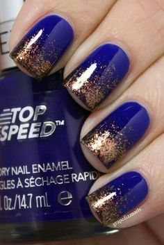 This Cobalt blue with gold glitter ombre affect is so pretty