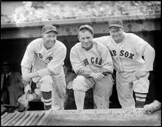 1937 - 1938 (approximate):- Boston Red Sox Rube Walberg, Chicago White Sox Jimmy Dykes, and Boston Red Sox Jimmie Foxx.