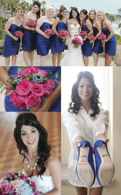 Bouquets, colors, hair and makeup.