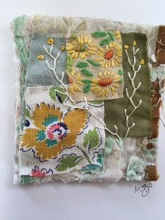 Don't throw away your tiny scraps of fabric! Mandy Pattullo made some beautiful little collages with hers. From her blog Thread and Thrift.