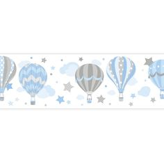 Kinder Bordüre Heißluftballons blau/grau, selbstklebend
