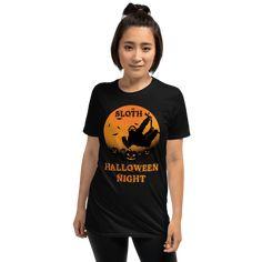 Unique Sloth Pumpkin Patch Halloween Scary Tshirt Unisex Sloth Black Shirt Halloween Night, Halloween Shirt, Scary Halloween, Sloth, T Shirt, Black, Tops, Women, Fashion