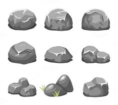 Stones and rocks cartoon vector  @creativework247