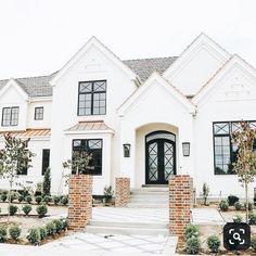 Dream Home Design, Home Design Plans, My Dream Home, Dream House Exterior, Dream House Plans, House Exteriors, House Exterior Design, Brick House Plans, Cafe Exterior