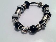 Black and White Kitty European Charm Bracelet on Etsy, $5.00