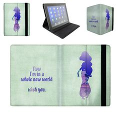 Jasmine Whole New World Quote - iPad 2 3 4 Mini Flip Case Cover in Book Style with Hard Shell