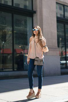 Pam Hetlinger + stylish pair of platform espadrilles + jeans + cute off the shoulder  top + perfect for summer + authentic e4d4e65001b2