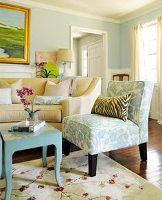 Living Room: 1. Use a neutral chair (or a couple of chairs) if you want a look that'll last a long time. Layer on bold pillows to liven it up. 2.Have a small space? Push two of these armless chairs together to form a loveseat! 3.Try flanking your coffee table with a pair of fun chairs upholstered in a bold pattern.