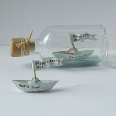 Handmade Personalised Paper Ship In A Bottle