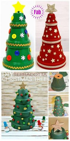 DIY Terra Cotta Flower Pot Christmas Decorations & Craft Tutorials - Clay Pot Christmas Tree DIY Tutorial DIY Clay Pot Projects for Your Christmas decorating fun! Potted Christmas Trees, Noel Christmas, Christmas Crafts For Kids, Homemade Christmas, Christmas Projects, Decor Crafts, Holiday Crafts, Christmas Gifts, Christmas Ornaments