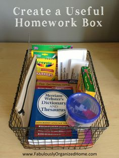 Homework bin--from fabulously organized home. Need this for when I have kids.