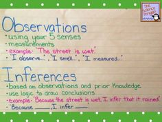 """Observations and Inferences Anchor Chart: This chart gives simple definitions of each, an example, and appropriate sentence stems to use. I like to make my students use the """"Because __, I infer ___"""" sentence when making inferences in science."""