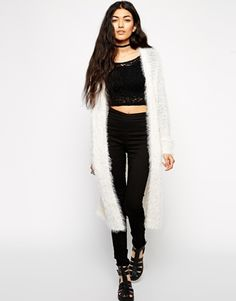 Enlarge ASOS Longline Cardigan In Fluffy Yarn