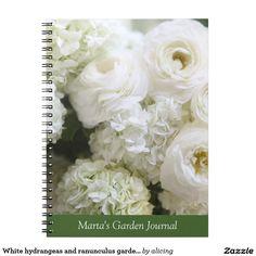 White hydrangeas and ranunculus garden journal