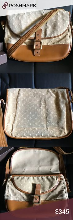 Louis Vuitton Marjorie GM Authentic LV Mini Lin Marjorie shoulder bag Has a bit of jeans transfer as shown in pictures. Last 2 pics shows the crack at the top of the bag. Other than that it's a great starter LV. Louis Vuitton Bags Crossbody Bags