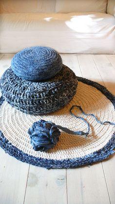 Floor Cushion Crochet Denim por lacasadecoto en Etsy, €65.00