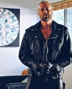 Leatherman LederSLC at home, Salt Lake City, United States. Leather Jeans, Leather Gloves, Black Leather, Leather Jacket, Jacket Men, Just For Men, Moto Style, Bearded Men, Black Men