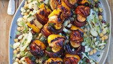 Sticky marmalade chicken skewers with bean salad Holiday Recipes, Dinner Recipes, Linguine Recipes, Cooking Recipes, Healthy Recipes, Healthy Food, Bean Salad Recipes, Chicken Skewers, Food To Make
